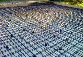 Армирование фундаментной монолитной плиты