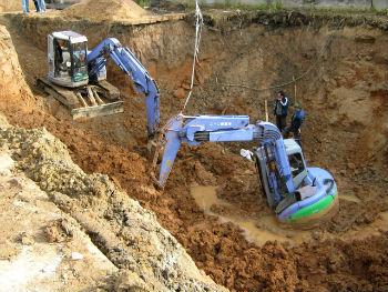 Применение двух экскаваторов с прямой лопатой