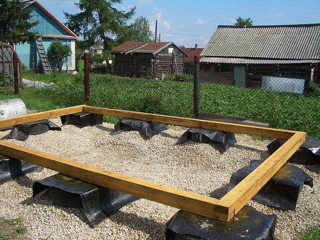Фундамент из покрышек для бани