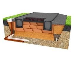 Схематическое изображение фундамента шведская плита в разрезе